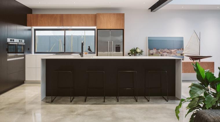 This kitchen's slender Glacier White countertops underscore its furniture, interior design, kitchen, gray
