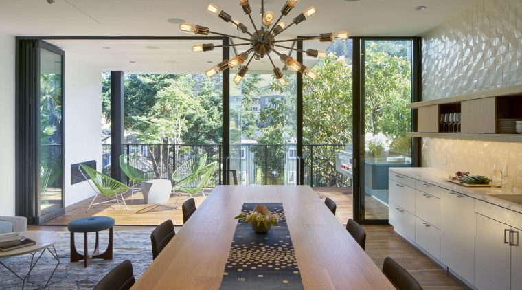 The height of this table is set in architecture, ceiling, dining room, home, house, interior design, living room, real estate, room, window, gray