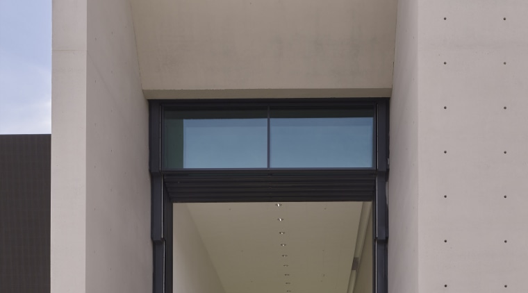 The aptly named, glass-shuttered Porte Guillotine entry to architecture, building, daylighting, facade, house, gray