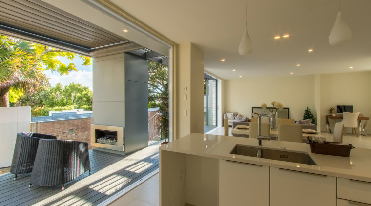 Generous decks with gas fires are set for architecture, house, interior design, property, real estate, window, brown, gray