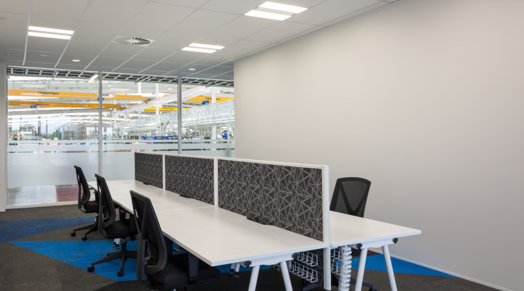 Sustainable, strong, acoustic-rated, and in a light-reflecting white, classroom, furniture, interior design, office, product design, table, gray