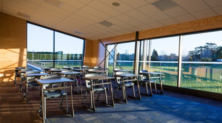Tilted windows on the ACG Gymnasium optimise views leisure, real estate, roof, brown