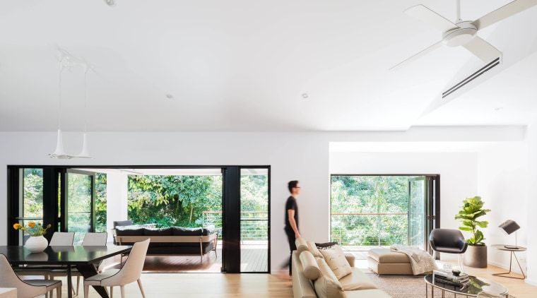 In this whole-house renovation by architect Melonie Bayl-Smith, ceiling, daylighting, home, house, interior design, living room, property, real estate, window, white