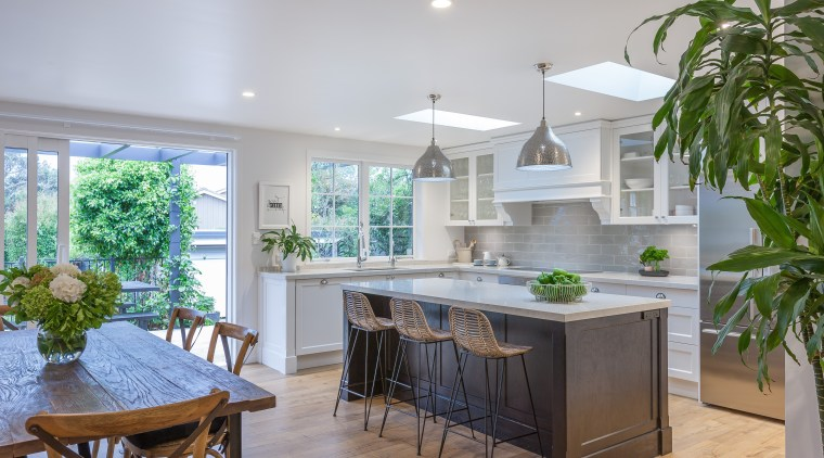 Dark becomes white, and cool becomes warm, in countertop, estate, home, interior design, kitchen, property, real estate, gray