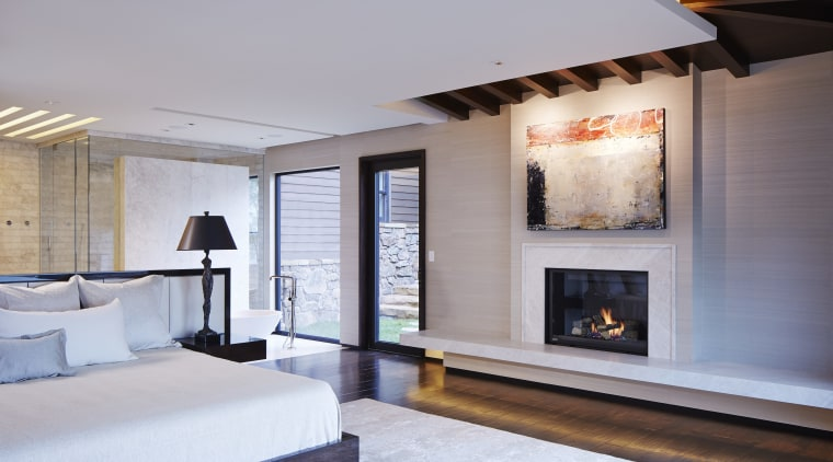Part of a complete home remodel by designer ceiling, fireplace, hearth, interior design, living room, room, gray