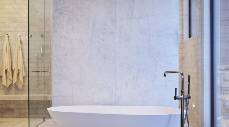 The clean lines of the tub and shower bathroom, bathtub, floor, flooring, interior design, plumbing fixture, product design, sink, tap, tile, wall, gray
