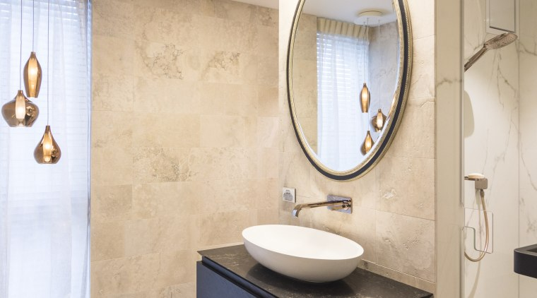 Together with the master ensuite, the designer on bathroom, ceiling, floor, flooring, interior design, plumbing fixture, product design, room, sink, tile, wall, gray