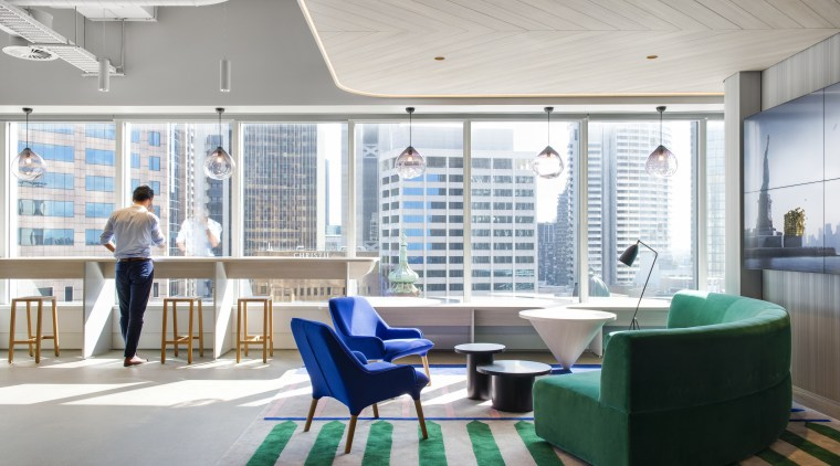 Warm welcome  soft tones, a warm-wood drop architecture, daylighting, furniture, interior design, lobby, office, gray, white