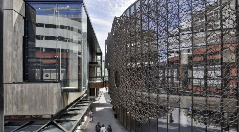 The porous nature of the hospitality building and architecture, building, corporate headquarters, facade, headquarters, metropolis, metropolitan area, mixed use, neighbourhood, reflection, tourist attraction, gray, black
