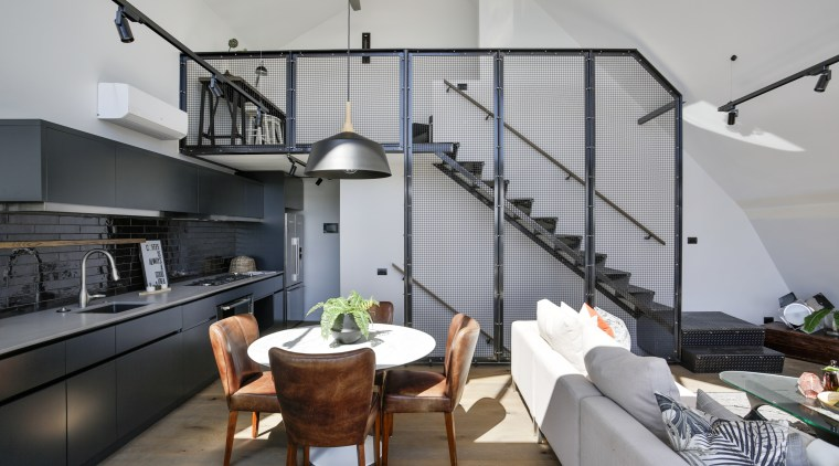 Blackened metal stairs, mesh screens and black kitchens interior design, living room, loft, gray