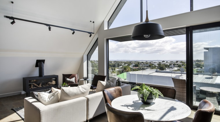 With a view a clever reallocation of public interior design, living room, penthouse apartment, real estate, window, gray, white
