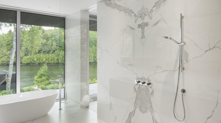 MU Architects selected Neolith Estatuario for walls and architecture, bathroom, ceiling, floor, home, interior design, product design, white
