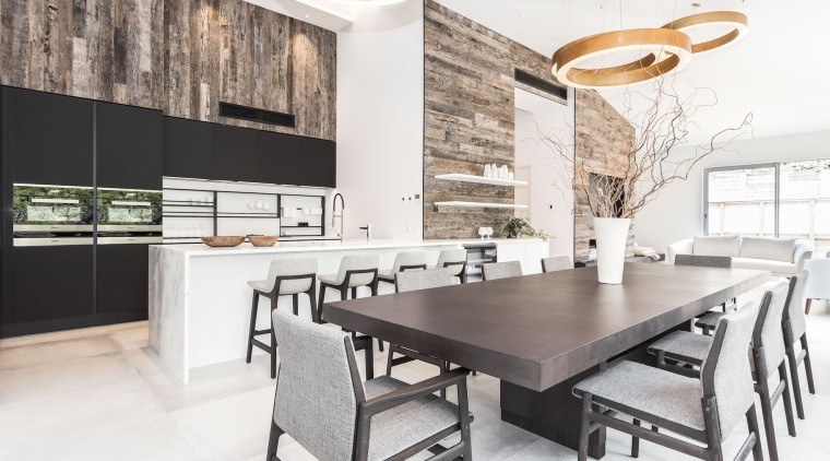 Poliform kitchen from Studio Italia – designed by countertop, dining room, furniture, interior design, kitchen, table, white