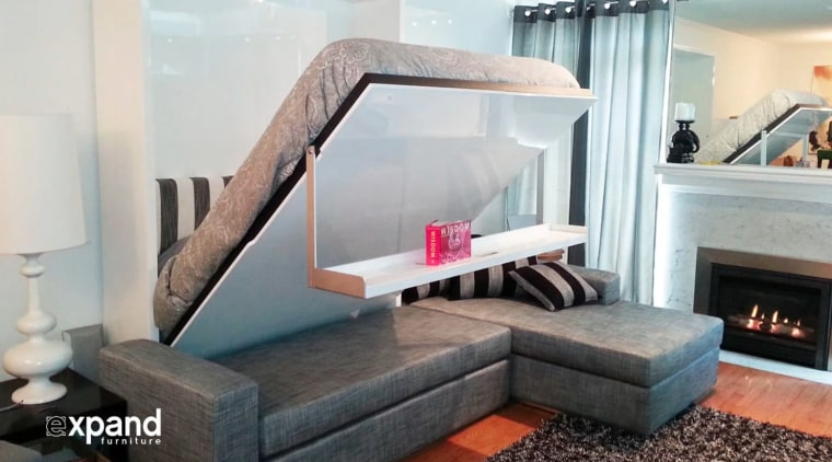 20 Genius Transforming Furniture Ideas Video fireplace, furniture, hearth, home, interior design, living room, room, table, gray, white