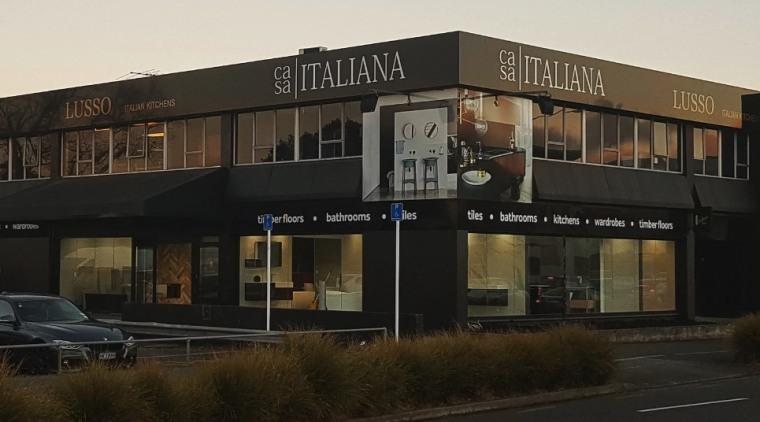 Casa Italiana Showmaker building, facade, mixed use, real estate, black