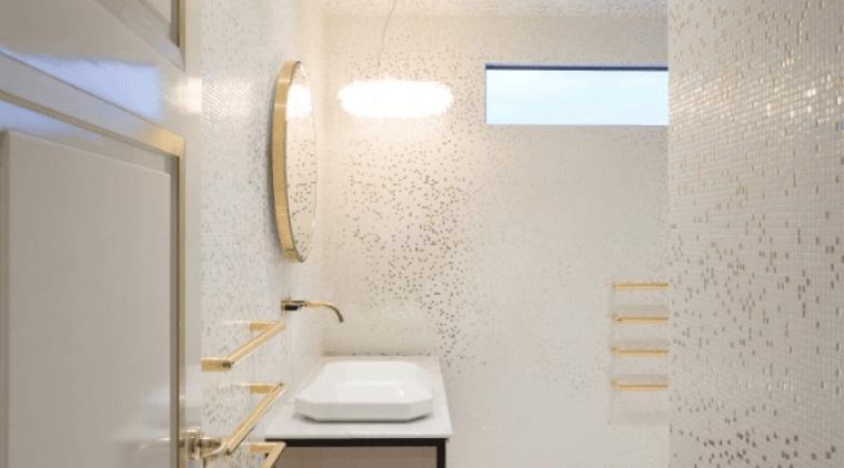 Designed By Jason Bonham of Bonham Interiors bathroom, ceiling, daylighting, floor, interior design, lighting, plaster, room, tap, tile, wall, gray