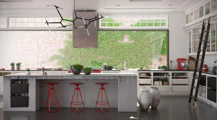 Original kitcneh view countertop, floor, flooring, interior design, kitchen, room, gray