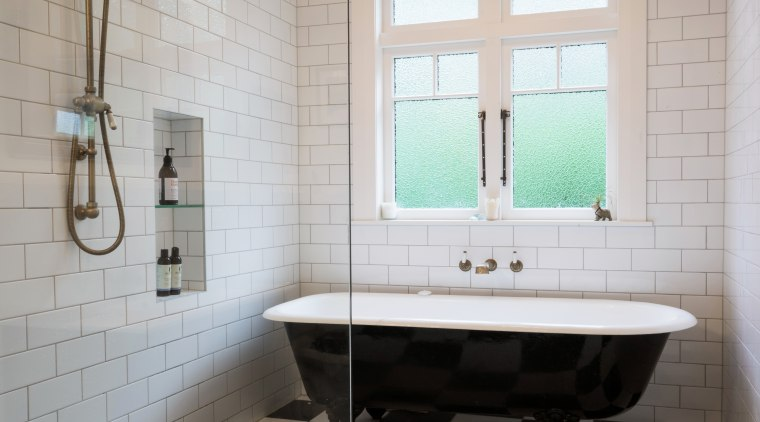 In the family bathroom, the shower had to bathroom, floor, flooring, home, interior design, plumbing fixture, room, sink, tile, wall, gray