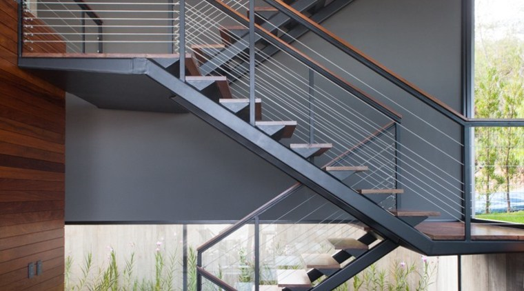 The staircase zig-zags its way up architecture, daylighting, handrail, house, stairs, gray, white