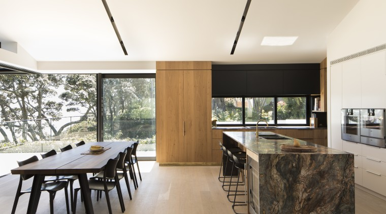 Natural materials help this family kitchen connect with architecture, ceiling, house, interior design, real estate, white