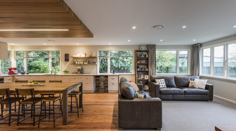 While this renovation by designer Jason Higham stayed ceiling, flooring, house, interior design, living room, real estate, gray, brown