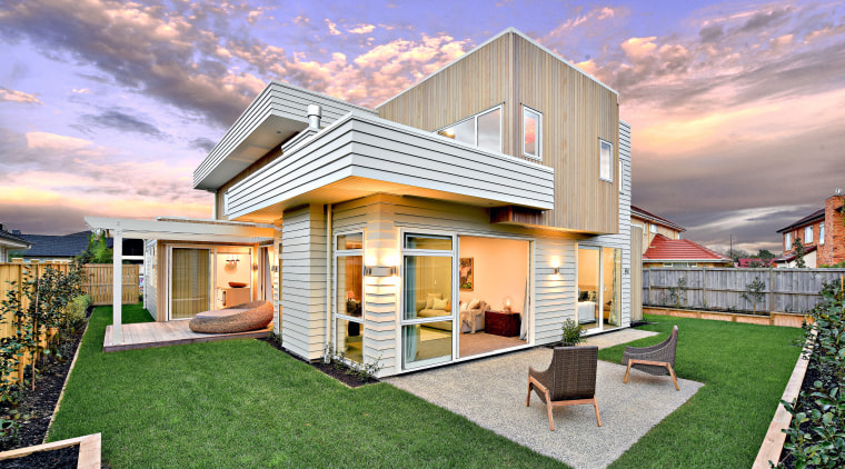 Wood cladding and open-plan interiors make this a architecture, cottage, elevation, estate, facade, home, house, property, real estate, residential area, gray