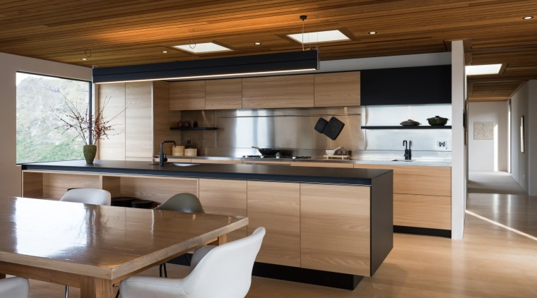 Sleek new kitchen has both a clean lined countertop, cuisine classique, interior design, kitchen, brown