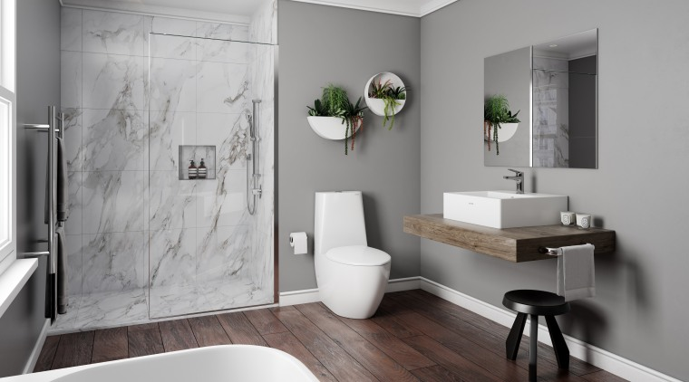 Toto Bathroom architecture, bathroom, bathroom accessory, floor, home, interior design, plumbing fixture, room, sink, tap, wall, gray