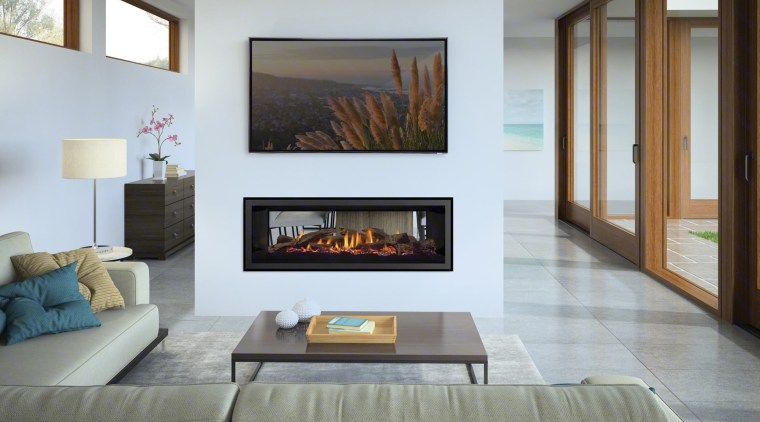 Learn more about this fireplace here: https://trendsideas.com/stories/innovative-gas-fireplaces fireplace, floor, hearth, interior design, living room, wall, gray, white