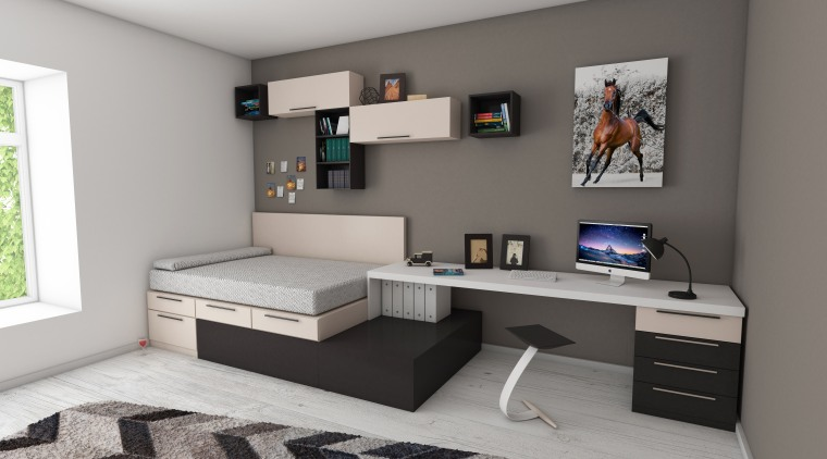 What will the future of the apartment look desk, furniture, interior design, product, room, gray