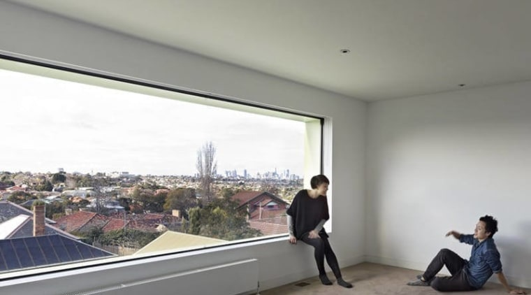 When standing in the room, you get a apartment, architecture, ceiling, daylighting, floor, flooring, house, interior design, property, real estate, roof, sky, window, gray