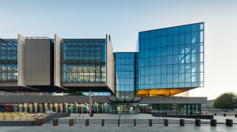 New Justice Precinct designed as anchor project in architecture, building, commercial building, condominium, convention center, corporate headquarters, facade, headquarters, metropolis, metropolitan area, mixed use, reflection, sky, white