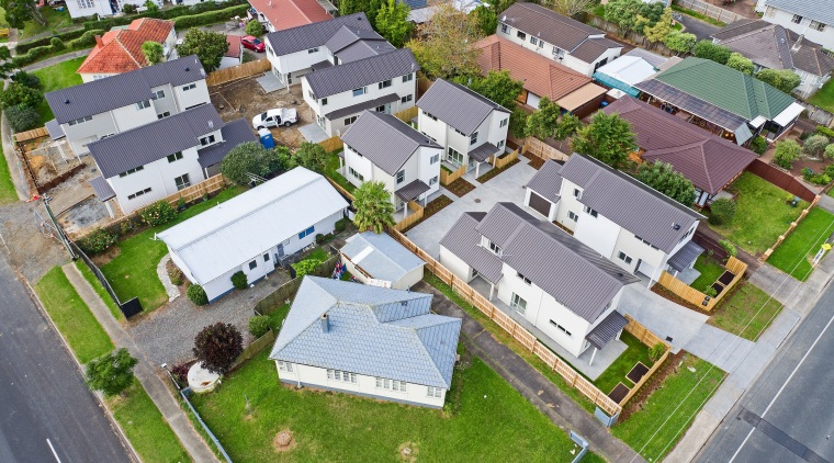 Eight new homes in the Richardson-Howell development, owned aerial photography, bird's eye view, estate, home, house, neighbourhood, property, real estate, residential area, suburb, urban design, gray