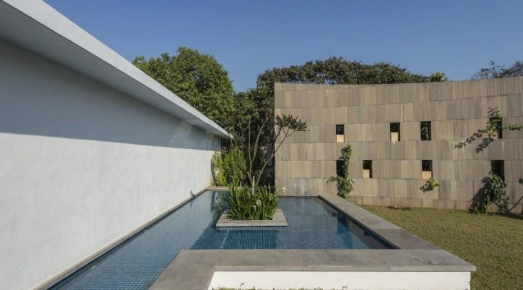 Architect: ADNDPhotography by Sebastian Zachariah architecture, backyard, daylighting, estate, facade, house, property, real estate, residential area, yard, gray