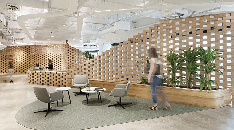 Innovative use of wood for reception desk and ceiling, daylighting, floor, flooring, furniture, interior design, lobby, wall, gray