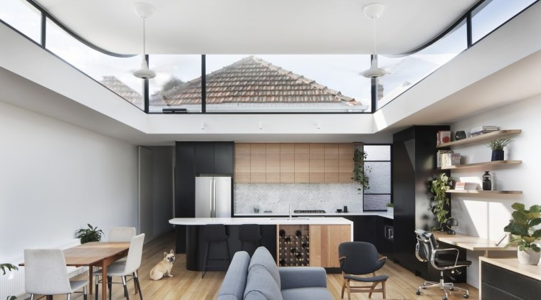 The clerestory windows wrap around the kitchen/living area architecture, ceiling, daylighting, house, interior design, living room, loft, real estate, gray, white