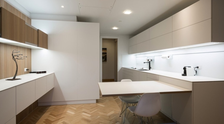 Highly Commended in the Category Imported Kitchen architecture, bathroom, cabinetry, ceiling, countertop, floor, flooring, interior design, kitchen, real estate, room, sink, tile, wood flooring, gray