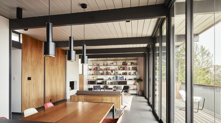 Pendant lights run along the dining table ceiling, interior design, gray