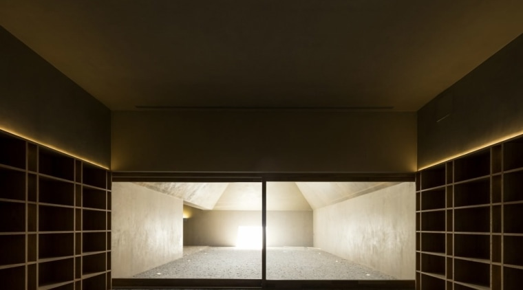 The interior has a dream-like quality thanks to architecture, ceiling, daylighting, interior design, light, lighting, wall, black