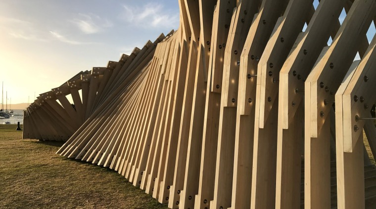Finalist in Excellence in Engineered Wood Products (Category architecture, building, facade, fence, landmark, line, outdoor structure, sky, structure, sunlight, wall, wood, brown