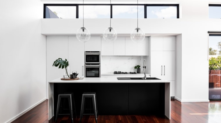 """""""The Wasley' featuring highlight windows to capture the cabinetry, countertop, cuisine classique, furniture, interior design, kitchen, white"""