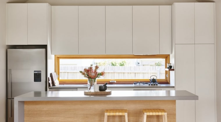 A window doubles as a splash back in cabinetry, countertop, interior design, kitchen, gray