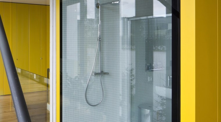 The shower faces out to the lake architecture, door, glass, house, interior design, window, gray, brown