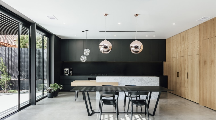 Contemporary kitchen forms part of a larger modern ceiling, floor, house, interior design, room, table, white