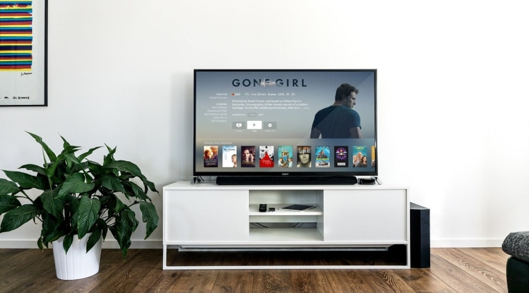 Want to create a truly smart living room? display device, flat panel display, furniture, media, multimedia, product, product design, shelving, television, white