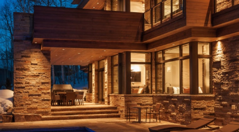 Wilner at Avon, Colorado architecture, building, elevation, estate, evening, facade, home, house, landscape lighting, lighting, property, real estate, reflection, residential area, siding, sky, swimming pool, villa, window, wood, blue, brown