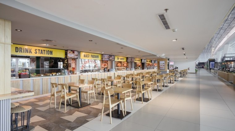 Terminal 3 responds to the needs of passengers food court, mixed use, shopping mall, gray