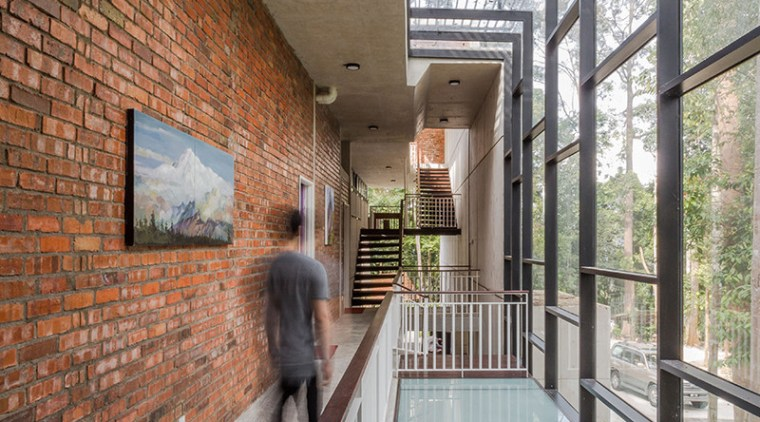 This home's main circulation system runs through three architecture, building, daylighting, handrail, house, tourist attraction, gray, brown