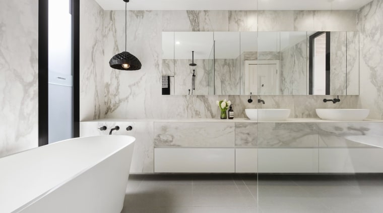 TIDA AUS 2017 – Architect-designed bathroom winner – architecture, bathroom, floor, flooring, interior design, interior designer, product design, room, sink, tap, tile, wall, gray