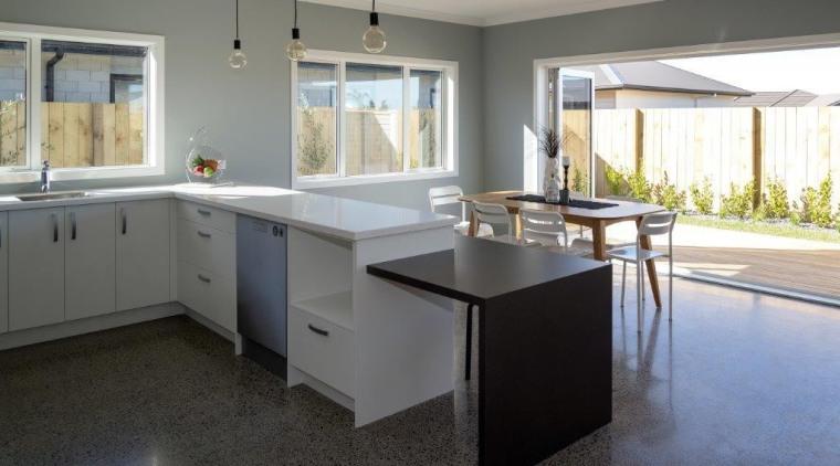 Tauranga Showhome countertop, floor, flooring, home, interior design, kitchen, property, real estate, room, gray